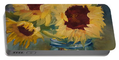 Portable Battery Charger featuring the painting Three Is A Charm by Judy Fischer Walton