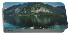 Three Lake Hallstatt Swans Portable Battery Charger