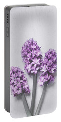Three Light Purple Hyacinths Portable Battery Charger