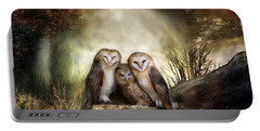 Three Owl Moon Portable Battery Charger by Carol Cavalaris