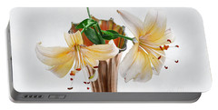Three Pale Gold Lilies Still Life Portable Battery Charger by Louise Kumpf