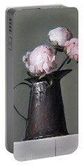 Three Peony Buds In Old Tin Can Portable Battery Charger