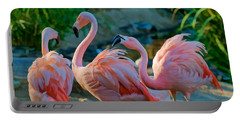 Three Pink Flamingos Strutting Their Stuff Portable Battery Charger