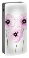 Three Pink Poppies Portable Battery Charger