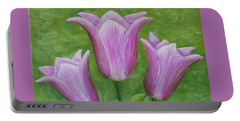 Portable Battery Charger featuring the painting Three Pink Tulips by Nancy Nale