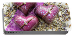 Three Purple Hearts Portable Battery Charger by Sabine Edrissi