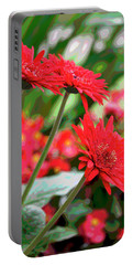 Three Red Gerberas Posterized Portable Battery Charger