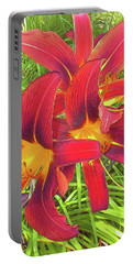 Three Red Tiger Lilies Portable Battery Charger