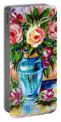 Three Roses In A Glass Vase Portable Battery Charger