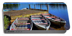 Three Rowboats Portable Battery Charger by David Patterson