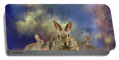 Portable Battery Charger featuring the photograph Three Scared Lagomorphs by Janette Boyd