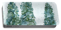 Three Snowy Spruce Trees Portable Battery Charger