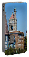 Three Steeples Of St Johnsbury Vermont Portable Battery Charger by Tim Kirchoff