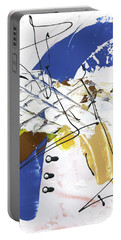 Portable Battery Charger featuring the painting Three Color Palette Blue 3 by Michal Mitak Mahgerefteh