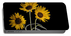 Three Sunflowers Light Painted On Black Portable Battery Charger by Vishwanath Bhat
