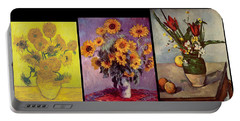 Three Vases Van Gogh - Cezanne Portable Battery Charger by David Bridburg