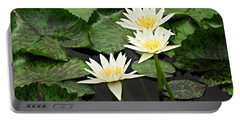 Three Water Lilies Portable Battery Charger