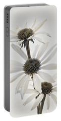 Three White Coneflowers Portable Battery Charger