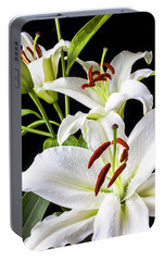 Three White Lilies Portable Battery Charger by Garry Gay