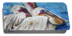 Three White Pelicans Portable Battery Charger