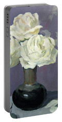 Three White Roses With Abstract Background Portable Battery Charger