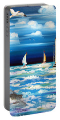 Three White Sails And A Seagull Portable Battery Charger