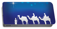 Three Wise Men White Silhouette Portable Battery Charger