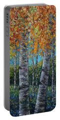 Through The Aspen Trees Diptych 1 Portable Battery Charger