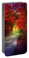 Through The Crimson Leaves To A Golden Beginning Portable Battery Charger