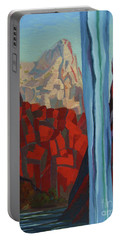 Portable Battery Charger featuring the painting Through The Narrows, Zion by Erin Fickert-Rowland