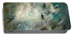 Portable Battery Charger featuring the painting Poseiden's Thunder by Barbie Batson