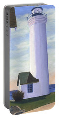 Portable Battery Charger featuring the painting Tibbett's Point by Lynne Reichhart