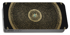 Tibetan Thangka - Green Tara Goddess Mandala With Mantra In Gold On Black Portable Battery Charger