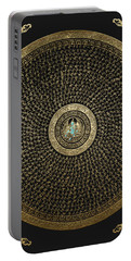 Tibetan Thangka - Green Tara Goddess Mandala With Mantra In Gold On Black Portable Battery Charger