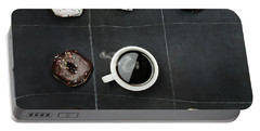 Tic Tac Toe Donuts And Coffee Portable Battery Charger by Stephanie Frey