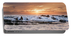 Tidal Sunset Portable Battery Charger by Heather Applegate