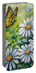 Tiger And Daisies  Portable Battery Charger