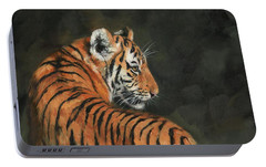 Portable Battery Charger featuring the painting Tiger At Night by David Stribbling