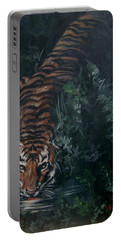 Portable Battery Charger featuring the painting Tiger by Bryan Bustard