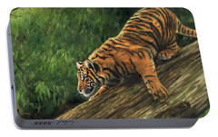 Portable Battery Charger featuring the painting Tiger Descending Tree by David Stribbling