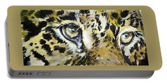 Portable Battery Charger featuring the painting Tiger Eyes by Kovacs Anna Brigitta