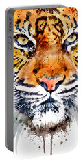 Portable Battery Charger featuring the mixed media Tiger Face Close-up by Marian Voicu