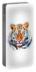 Tiger Head Watercolor Portable Battery Charger by Marian Voicu