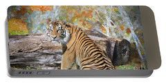 Portable Battery Charger featuring the painting Tiger In Spring by Judy Kay