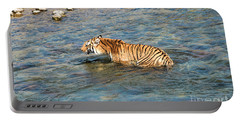 Tiger In The Water Portable Battery Charger by Pravine Chester