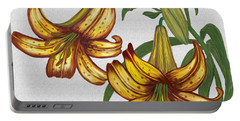 Portable Battery Charger featuring the digital art Tiger Lily Blossom  by Walter Colvin