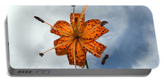 Tiger Lily In A Shower Portable Battery Charger by Kevin Fortier