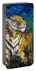 Tiger Night Hunt Portable Battery Charger by Shirley Heyn