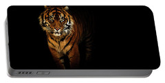 Tiger On A Black Background Portable Battery Charger