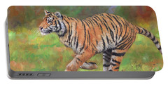 Tiger Running Portable Battery Charger by David Stribbling